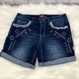Lee Jeans Embellished Mid Denim Shorts